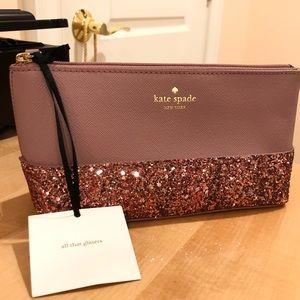 NWT Kate Spade Purple Glitter Cosmetic Bag